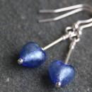 Small heart drop earrings in blue from Firefrost Designs