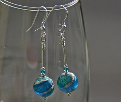 Murano 'Ripples' earrings in turquoise from Firefrost Designs