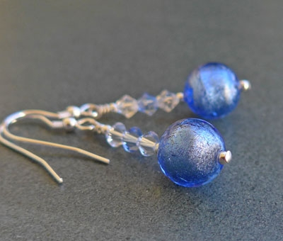 Marano glass Carina earrings in blue from Firefrost Designs