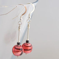 Pink and Black Murano glass earrings