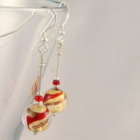 Murano-glass-Red-and-Gold-earrings