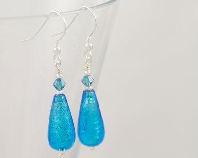Murano glass earrings Turquoise Teardrops