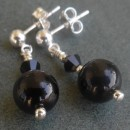 Carina tiny crystal earrings in black from Firefrost Designs