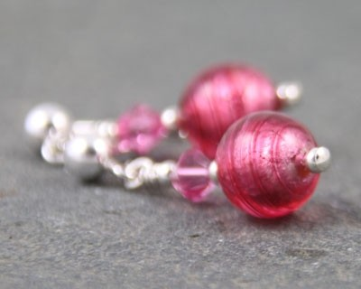 Carina tiny crystal earrings in pink from Firefrost Designs