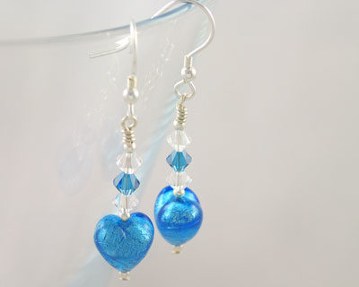 Turquoise Murano glass heart earrings