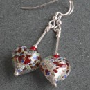 Murano glass heart earrings in pestaccio and crystal from Firefrost Designs