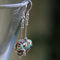 Multi Coloured glass heart earrings by Firefrost