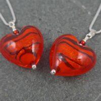 Murano glass heart pendants