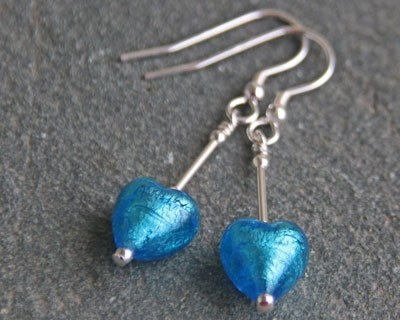 Small heart drop earrings in turquoise from Firefrost Designs