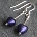 Small heart drop earrings in purple from Firefrost Designs