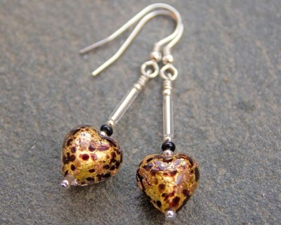 Murano glass heart earrings in pestaccio and topaz from Firefrost Designs