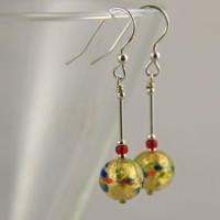 Gold and Red Murano glass earrings