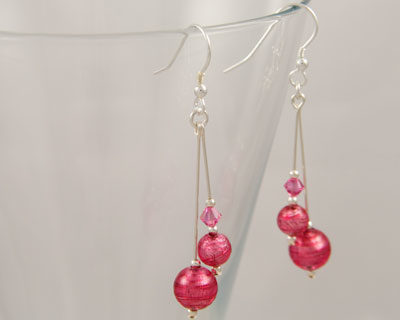 Pink Murano double drop Carina earrings