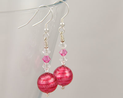 Pink Murano glass earrings with Swarovski crystals on Sterling Silver fittings