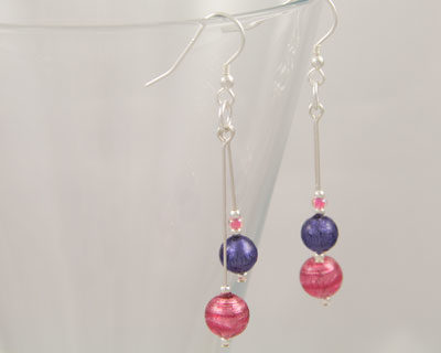 Pink and Purple Murano glass earrings in a double drop