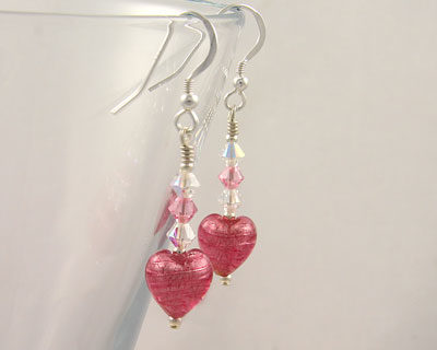 Murano glass earrings small hearts Pink