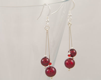Red Murano glass earrings Carina double drop