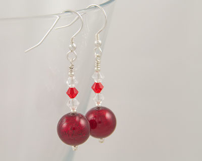 Red Murano glass earrings with Swarovski crystals on Sterling Silver fittings