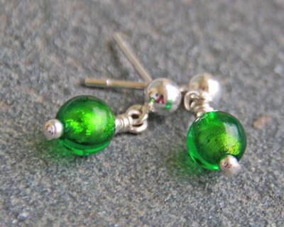 Murano glass earrings round green