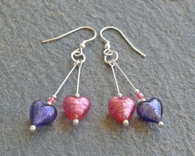 Small heart drop earrings from Firefrost Designs