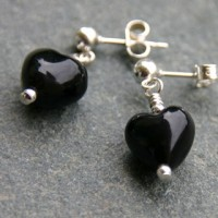 Small Heart Earrings Black Murano Glass Firefrost Designs