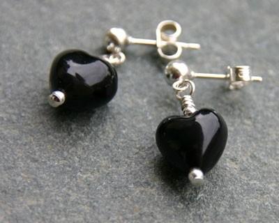 Small Heart Earrings Black Murano Glass Firefrost Designs