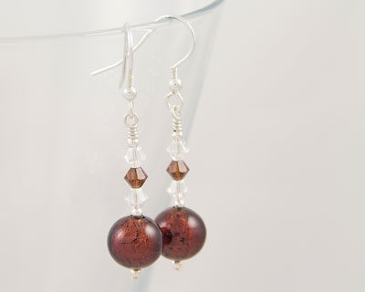 Topaz Murano glass earrings with Swarovski crystals on Sterling Silver fittings