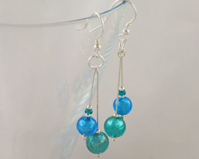 Murano glass double drop earrings in Turquoise and Marino