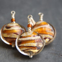 Gold and Topaz Murano glass pendant