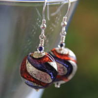 Purple and Topaz Murano glass earrings