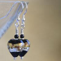 Black, Silver & Gold Murano glass earrings
