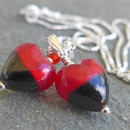 Murano glass Bi colour earrings Red and Black