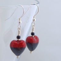 Red and Black Murano glass earrings