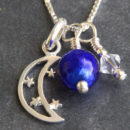 Moon and Stars Murano glass pendant