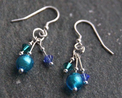 Waterfall Earrings by Firefrost in Murano glass and Sterling Silver