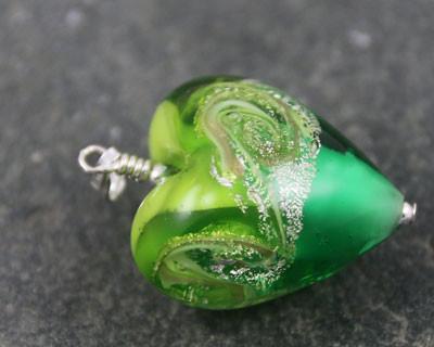 Rosaella Green Murano glass heart pendant