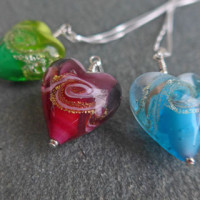 Rosella Murano glass heart pendants by Firefrost