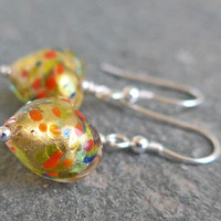 Multi-coloured Pestaccio heart earrings