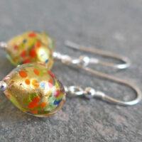 Multi coloured gold Murano glass heart earrings
