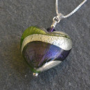 Lakeland Green and Purple Murano glass heart pendant by Firefrost
