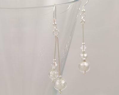 Crystal Murano glass double drop earrings