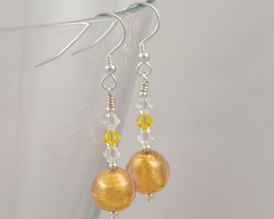 Gold Murano glass earrings with Swarovski crystals on Sterling Silver fittings