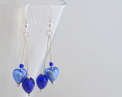 Sapphire and Cobalt Murano glass earrings