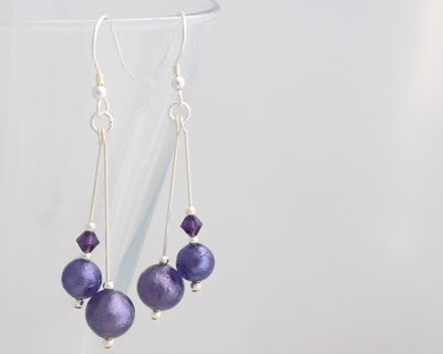 Purple Murano glass earrings Carina Duo