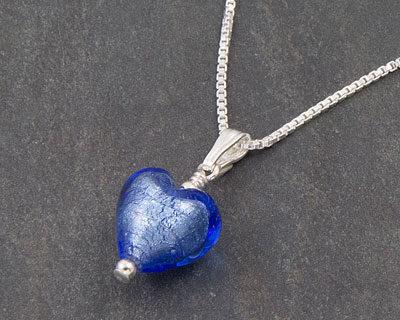 Murano glass heart pendant - Sapphire Bellina