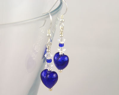 Murano glass heart earrings Cobalt Blue