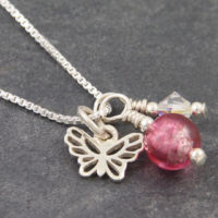Butterfly pendant with Murano glass