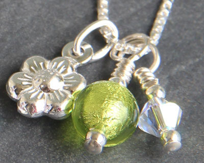 Sterling Silver Daisy charm with Green Murano glass bead