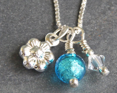 Daisy Charm Pendant Turquoise Murano Glass Firefrost Designs