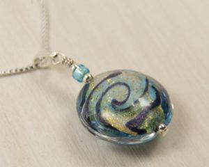 Sparkling Waves Murano glass pendant